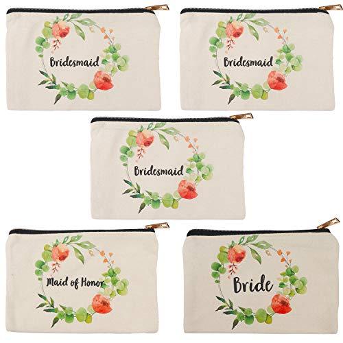 Kosmetiktasche Trauzeugin Geschenk (5-er Pack) - 18,4x12,6cm Schminktasche aus Leinen Kulturbeutel Makeup Tasche Kosmetikbeutel Schminktäschchen für Gastgeschenk, Brautjungfer, Hochzeit