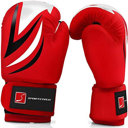 Sportstech Boxhandschuhe aus strapazierfähigem PU-Leder für Kinder mit doppelter Qualitätsnaht |Perfekter Boxing Handschutz für Training am Sandsack, Boxsack empfohlen vom Berliner Boxverband