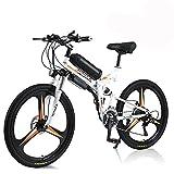Hyuhome E-Bike für Erwachsene Männer Frauen, Faltrad 250W / 350W 36V 10A 18650 Lithium-Ionen-Batterie Faltbares 26'Mountain E-Bike mit 21-Gang Shimano System Leicht zu Falten (White, 350W)