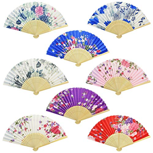 Floral Folding Hand Fan, Miayon 8Pcs Japanese Vintage Retro Style Folding Fan with Wooden Ribs Dancing Wedding Party Decor Fan (Random Color) (8pcs-Chinese Style with Wooden Rib)
