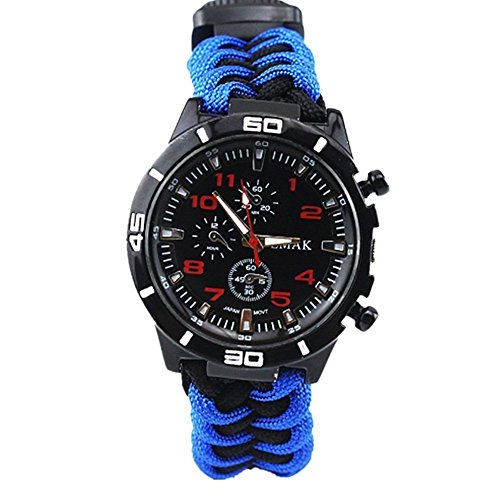 Outdoors Survival Bracelet Camping Hiking Watch Military Grade with Embedded Compass Starter & Tinder, Whistle Glows in The Dark (Blue (Length+2.5cm))