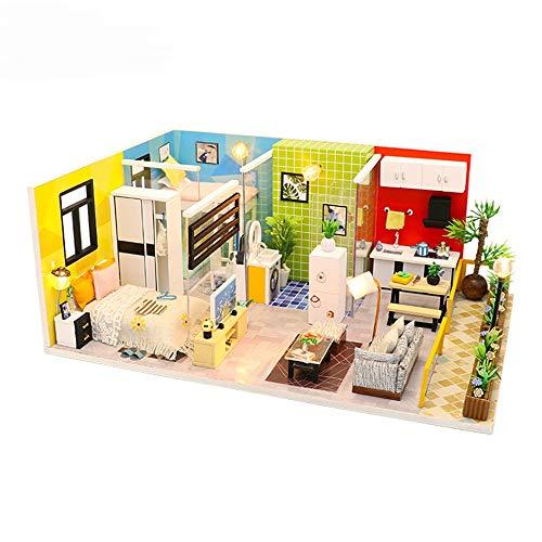 LERDBT Puppenstuben Modellbau Set-Mini House Crafts DIY Miniatur-Room Set-Holzhandwerk Baukasten-Holz beständiger gegen Staub (Color : Multi-Colored, Size : 28x19x11.3cm)