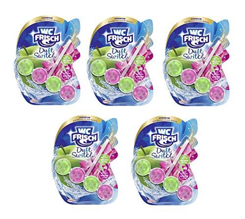 WC-Frisch Duft Switch Grüner Apfel und Wasserlilie, WC-Reiniger & Duftspüler, Duftwechsel, 5er Pack (5 x 50 g), von WC-Frisch