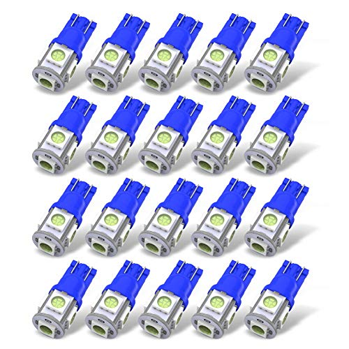 YITAMOTOR 194 LED Bulb Ice Blue, 194 T10 168 2825 W5W 175 158 Bulb 5050-5 SMD LED Light Bulb 12V Car Interior Lighting for Map Dome Lamp Courtesy Trunk License Plate Dashboard Parking Lights, 20-Pack