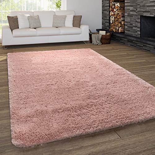 Paco Home Teppich Wohnzimmer Shaggy Hochflor Waschbar Einfarbiges Design, Grösse:140x200 cm, Farbe:Pink
