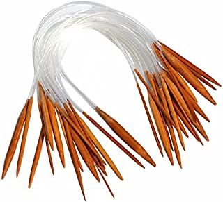 "Celine lin 18 Sizes 16 inch""(40cm) Crafts Yarn Circular Carbonized Bamboo Knitting Needles (2mm-10mm)"
