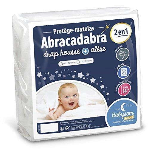 Babysom – babymadrasskon « 2 i 1 » – 60 x 120 cm – spännlakan + vattentät madrassöverdrag – 100 % bomull – luftgenomsläpplig