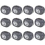 Festnight 12x LED Spotlight Solar Lampe Leuchte Strahler Solarleuchte Garten Solarstrahler Steinoptik