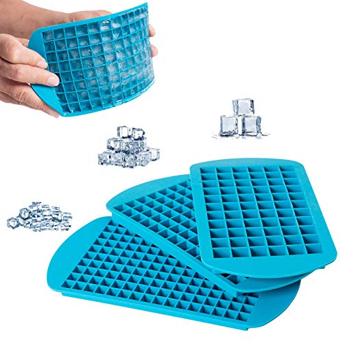 EuChoiz Silicone Ice Cube Trays 3pcs/Pack, 3 Different Sizes Ice Cube Molds, Small Crushed Ice Cube Flexible Easy Release Reusable and BPA Free Ice Trays