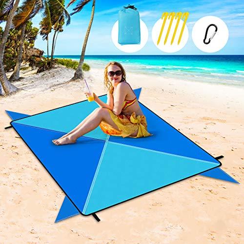 Redmoo Alfombra de Playa Esterilla Playa, 205 x 205 cm Manta Picnic Impermeable Manta de Picnic Manta de Playa con 4 Clavos Fijos, Alfombra de Picnic Bordes Reforzados para la Playa, Camping, y Picnic