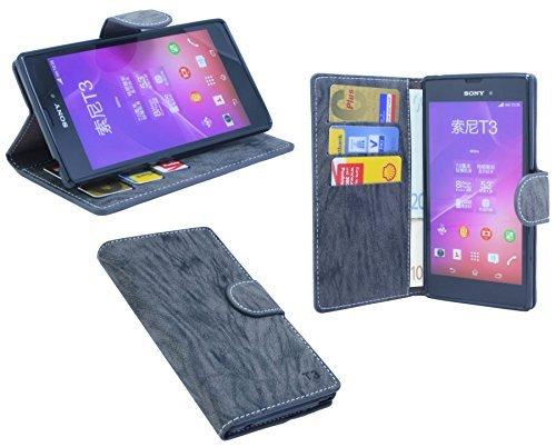 ENERGMiX Buchtasche kompatibel mit Sony Xperia Style (T3) Hülle Case Tasche Wallet BookStyle mit Standfunktion Anthrazit