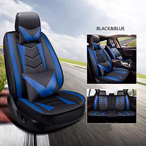QQJK Sitzbezüge Auto Set Autositzbezüge Leder für Ford Smax S-Max Stier Tourneo Connect Transit Custom, Blau...
