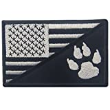 Tactical US Flag with Tracker Paw Patriot Milltary Embroidered Applique Morale Hook & Loop Patch - White & Black