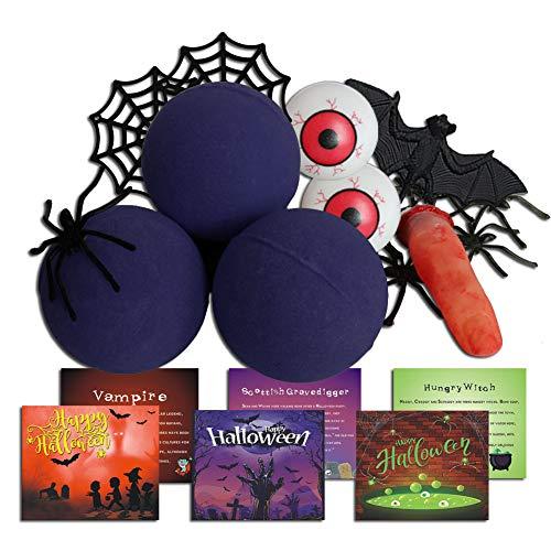 Purple Zombie Bath Bomb Gift Idea, Bath Bomb Set with 3 Purple Bath Bombs, 8 Floating Spiders, 2 Floating Spider Webs, 1 Injured Floating Finger, 1 Bat, 2 Floating Eyeballs , 1 Storage Bag