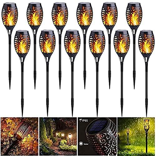 12 Stück solar fackeln garten, IP65 Wasserdicht Fackel Gartenbeleuchtung, solar laterne für draußen, 12 LED-gartenfackel mit flamme, Solarleuchten fire stick , für gartenparty deko-Auto Ein / Aus
