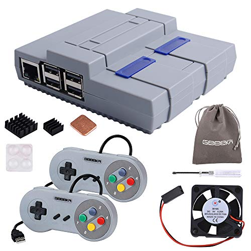 GeeekPi Raspberry Pi 3B+ Case, SNESPI Case Mini NES Style Case with Raspberry Pi Fan Heatsink,USB Game Controller for Raspberry Pi 3/2 Model B