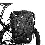 Movaty Rhinowalk Bolsa de la Bici Pannier Bolsa,25L Gran Capacidad Bicicleta Bolsa de la Bici de montaña Impermeable Ligera Bolsa de Bicicletas, 1000D poliéster, Anti-arañazos,Color Negro