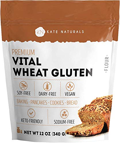 Premium Vital Wheat Gluten - Kate Naturals. High Protein, Low Carb, Vegan, Non GMO. Fresh. Perfect for Keto. Make Seitan and Low Carb Bread. (12 oz)
