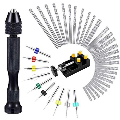 Odoukey 37pcs Metallbohrer Mini-Stich Bohrer Kleinstbohrer Zubehör für DIY Bohrarbeiten, Modellbau, Handbohrmaschine, Metall, Holz