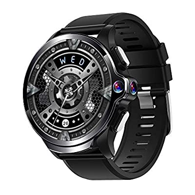 Allcall GT 4G Smart Watch Phone Big Battery Face Unlock Life Waterproof GPS Dual Cameras 1.6''Round Display Long Battery Big Memory 3GB RAM 32GB ROM 24h Heart Rate Monitor(Ceramic Bezel) (Black)