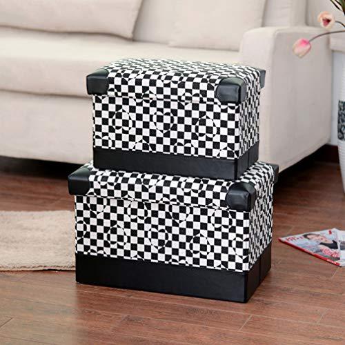 VBNM 2 pakjes opvouwbare krukken, versterkte panelen, opbergruimte, kubussen met deksels, lederen kussens, moderne huisdecoratie, kan 180kg dragen, meerkleurig optioneel