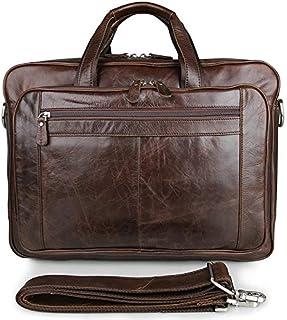 Men's Shoulder Bag Vintage Leather Bag Oil Wax Leather Business Bag Briefcase Large Leather Handbag 17 Inch Computer Bag (Color : Brown, Size : L)