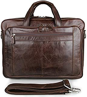 Haibeisi Fashion Unique Men's Shoulder Bag Vintage Leather Bag Oil Wax Leather Business Bag Briefcase Large Leather Handbag 17 Inch Computer Bag (Color : Brown, Size : L)