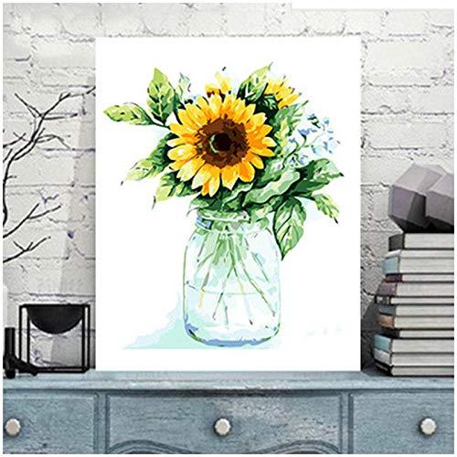 Wzjxzsynl Digitale olieverfschilderij om zelf te maken, voor cijfers, set met zonnebloemen in glazen fles voor kinderen, volwassenen, beginners 16 x 20 inch – kerstdecoratie geschenken