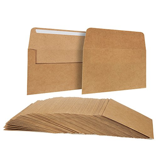 Juvale A6 Envelopes Bulk - 100-Count A6 Invitation Envelopes, Kraft Paper Envelopes for 4x6 Inch Wedding, Baby Shower, Party Invitations, Square-Flap Photo Envelopes, Brown, 4 3/4 x 6 1/2 Inches