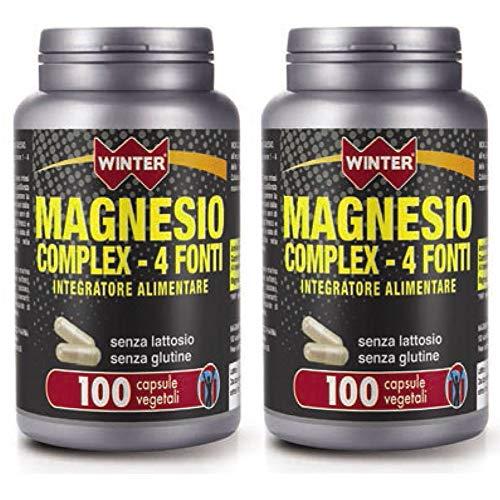 2x Magnesio 375 complex 4 fonti - 100 Capsule vegetali - Winter   Integratore alimentare di Magnesio, senza glutine e lattosio - scorta per 100 giorni (200 capsule totali)