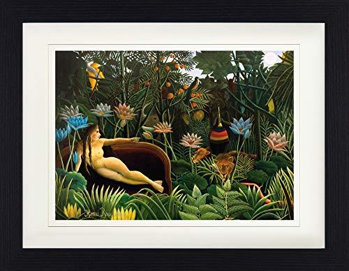 1art1 Henri Rousseau - Der Traum, 1910 Gerahmtes Bild Mit Edlem Passepartout | Wand-Bilder | Kunstdruck Poster Im Bilderrahmen 40 x 30 cm