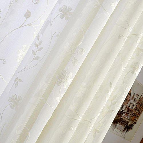 TINE HOME CURTAINS Rideaux et Rideaux Sheer Curtains Luxe Brodé Blanc Petites Fleurs Rideaux de Tulle pour Traitements de Fenêtre Salon Haut à Oeillets Un Panneau, 1pc(200*270 cm