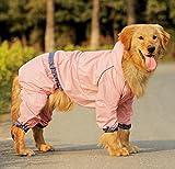 Easting Dog Hooded Rain Slicker Waterproof Jacket Dog Rain Poncho Rain Coat for Medium to Large Dogs for Golden Retriever, Samoyed, Akita, Labrador Retriever, Breeds (Pink/14#)