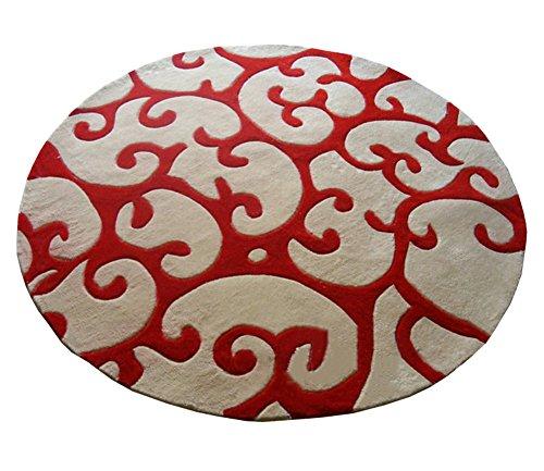 DD Runde Wollteppich Verdickung Verschlüsselung Couchtisch Schlafzimmer Computer Stuhl Zimmer runden Teppich, roten und weißen runden Teppich (größe : 130cm)