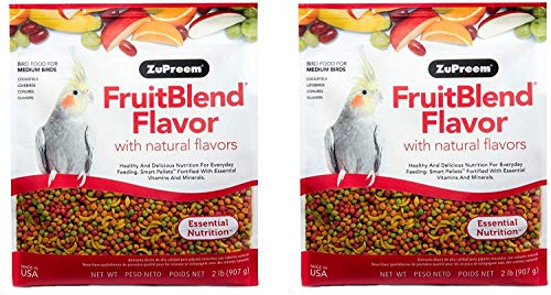 ZuPreem FruitBlend Flavor Pellets Bird Food for Medium Birds, 2 lb Bag (2-Pack) | Powerful Pellets Made in The USA, Naturally Flavored for Cockatiels, Quakers, Lovebirds, Small Conures