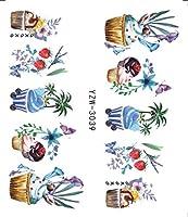 SUKTI&XIAO ネイルステッカー 3Dエンボスネイルステッカー花接着剤Diyマニキュアスライダーネイルアートのヒント装飾デカール、Yzw-3039