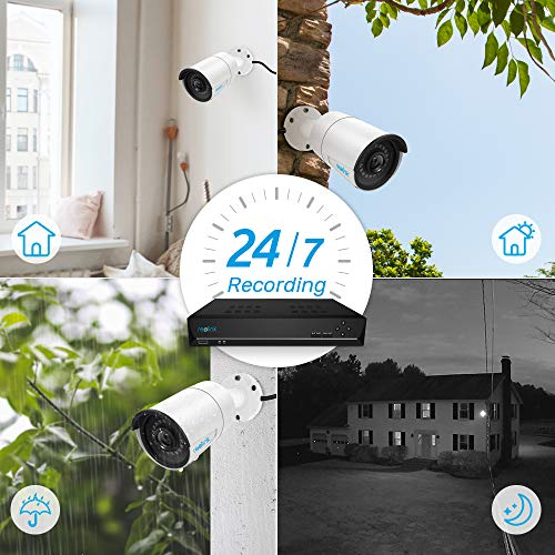 Reolink 16CH 5MP PoE Home Security Camera System, 8 x Wired 5MP Outdoor PoE IP Cameras, 5MP 16 Channel NVR Security System w/ 3TB HDD for 7/24 Reco   rding Super HD RLK16-410B8-5MP