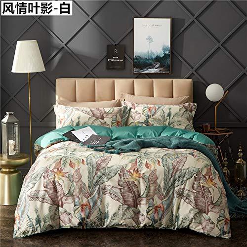 Yaonuli beddengoed van katoen, 4-delig, lang, standaard strik van katoen, 4-delig, wit blad met standaard strik, wit