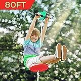 Hi-Na Zip Line Kit 80ft 100ft 120ft Zipline Kits for Backyard Kids Play Set Zipline with Seat Handles Ziplines for Backyards Zipline 100 Foot Zip Line Kit Zip Line Play Set Zipline for Kids (80ft)