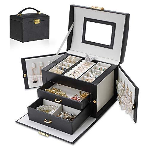 Joyero con 2 cajones para mujer, piel sintética, organizador de joyas con espejo, extraíble, caja de viaje, para anillos, pulseras, pendientes (negro)