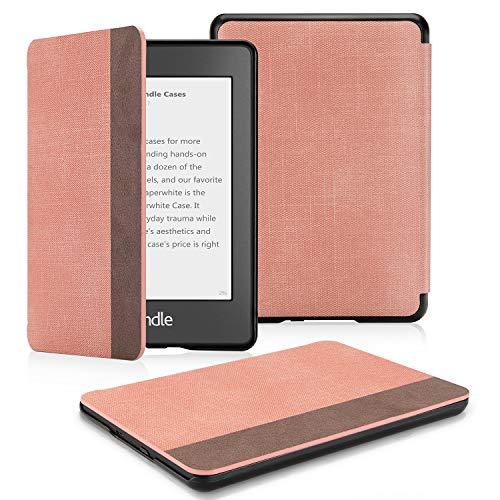 OMOTON Schutzhülle für der Neue Kindle Paperwhite 2018 (10.Generation), Schlanke und leicht, PU-Leder Hülle, mit Auto Sleep/Wake Funktion, Pink