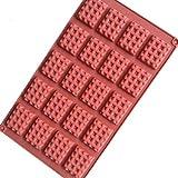Fewear Molde de silicona con cavidad para 20 mini magdalenas, rectangular, caja de galletas, para hornear