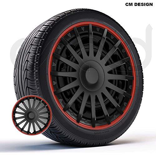 CM DESIGN 4 x 16 Zoll Crystal RO Schwarz/Rot Auto-Radkappen Radblenden
