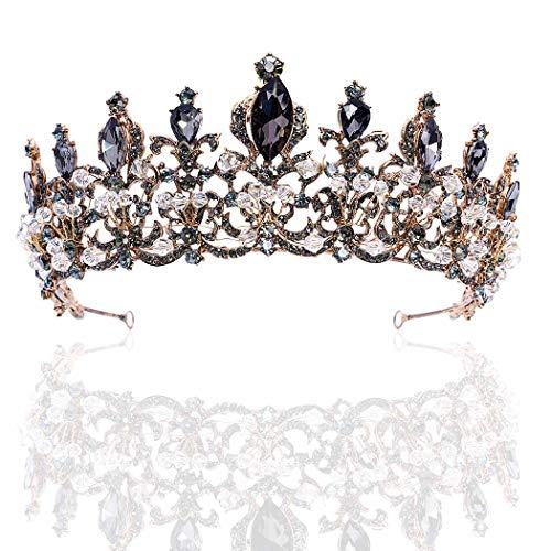 Brishow Baroque Bride Crowns and Tiaras Black Rhinestones Bridal Queen Tiara Crystal Headpieces for Women and Girls