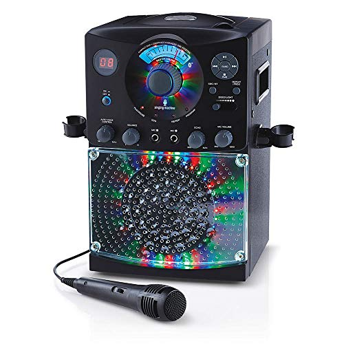 Singing Machine SML385BTBK Bluetooth Karaoke System with LED Disco Lights, CD+G, USB, and...
