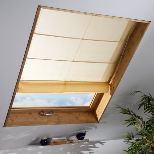 Liedeco Dachfenster-Raffrollo | B 100 x H 170 cm | lichtdurchlässig | weiß