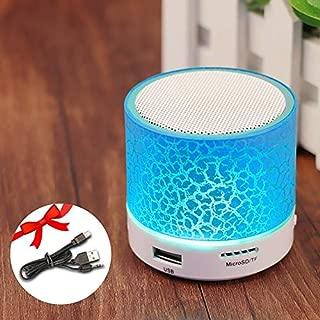 ZYZRYP GETIHU Wireless Portable Bluetooth Speaker Mini LED Music Audio TF USB FM Stereo Sound Speaker For Phone Xiaomi Computer column (Color : Light Blue)