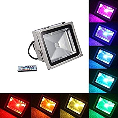 Generic Brands 1pcs Re Flector Led RGB Floodlights 20W 30W 50W Flood Lighting IP65 Outdoor 85 265V Spotlights+ Remote Controller Spot Garden