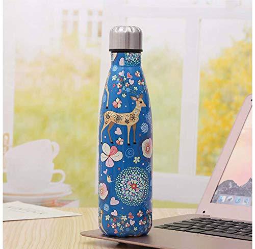 Heliansheng Botella de Agua de Bolos de galvanoplastia 04 Termo de Botella de Agua Deportiva de Acero Inoxidable -Blue fawn-500ml