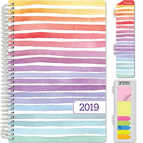 """HARDCOVER Calendar Year 2020 Planner: (November 2019 Through December 2020) 5.5""""x8"""" Daily Weekly Monthly Planner Yearly Agenda. Bonus Bookmark, Pocket Folder and Sticky Note Set (Pastel Stripes)"""